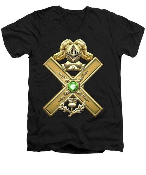 29th Degree Mason - Scottish Knight Of Saint Andrew Masonic Jewel  Men's V-Neck T-Shirt by Serge Averbukh