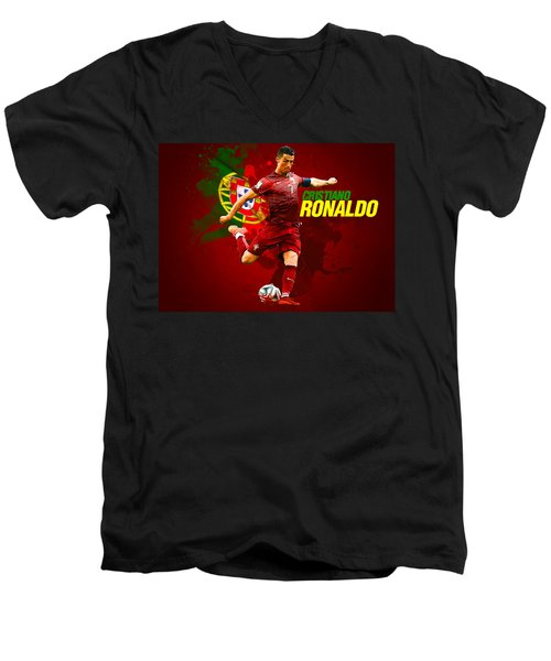 Cristiano Ronaldo Men's V-Neck T-Shirt by Semih Yurdabak