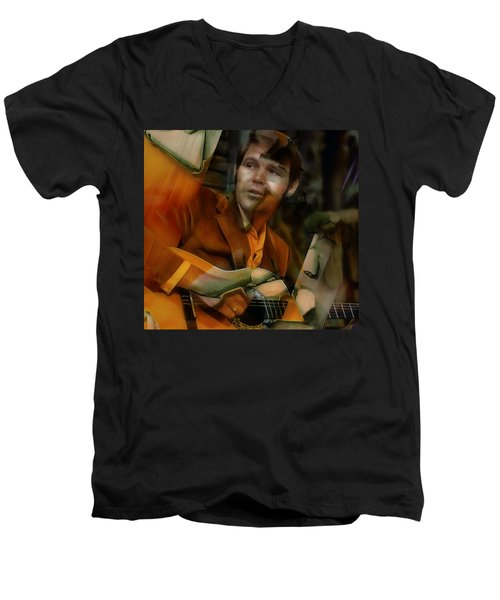 Men's V-Neck T-Shirt featuring the mixed media Glen Campbell by Marvin Blaine