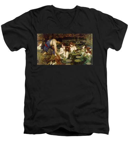Hylas And The Nymphs Men's V-Neck T-Shirt