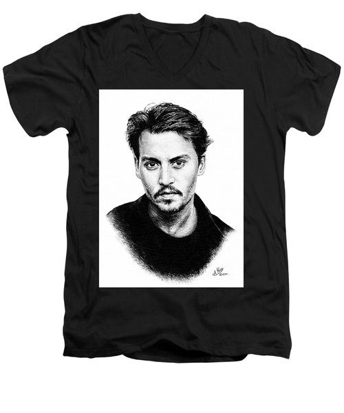 Johnny Depp Bw Version Men's V-Neck T-Shirt