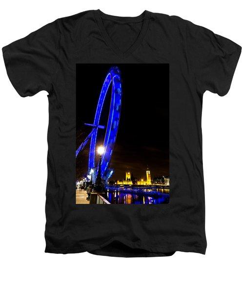 London Eye Night View Men's V-Neck T-Shirt