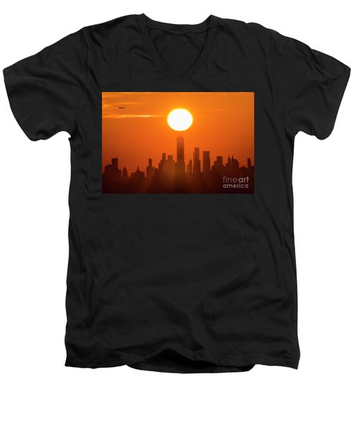 New York City Sunrise Men's V-Neck T-Shirt