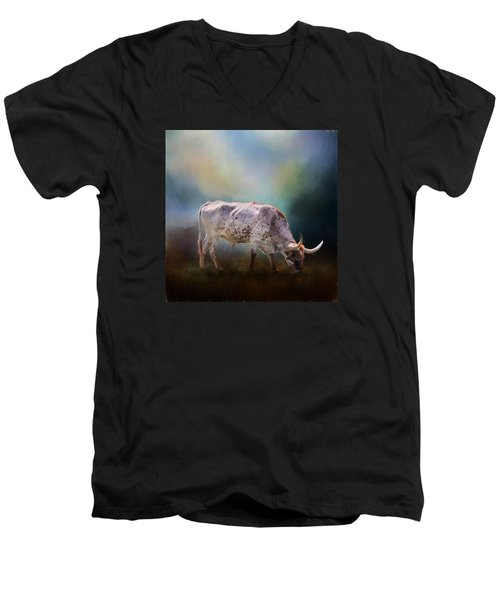 Texas Longhorn Steer Men's V-Neck T-Shirt