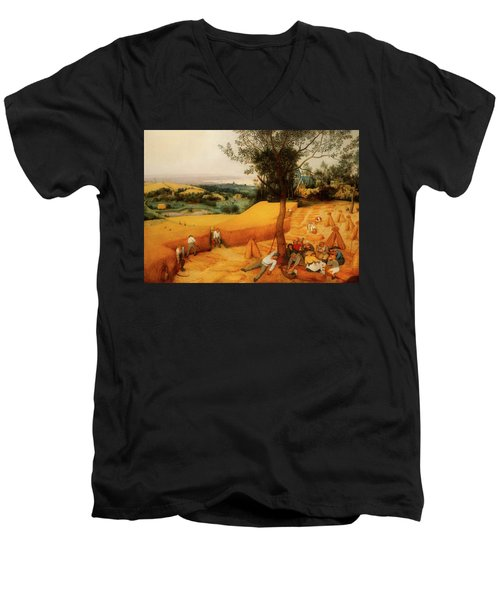 Men's V-Neck T-Shirt featuring the painting The Harvesters by Pieter Bruegel The Elder