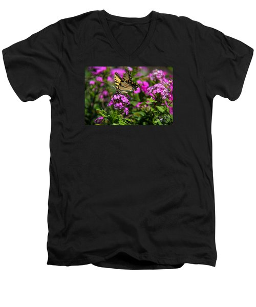 Men's V-Neck T-Shirt featuring the photograph Tiger Swallowtail by Yumi Johnson