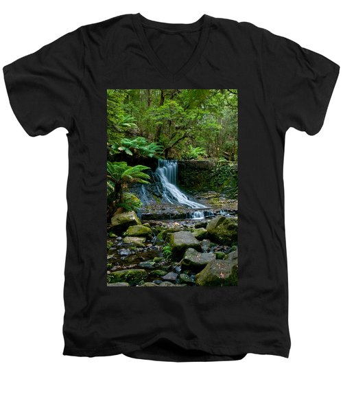 Waterfall In Deep Forest Men's V-Neck T-Shirt