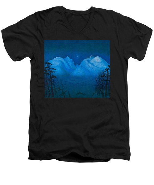 Winter Night In The Mountains Men's V-Neck T-Shirt