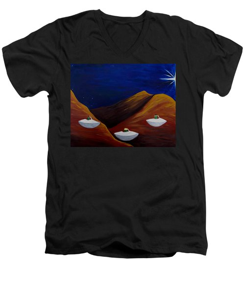 Men's V-Neck T-Shirt featuring the painting 3 Wise Guys by Lola Connelly