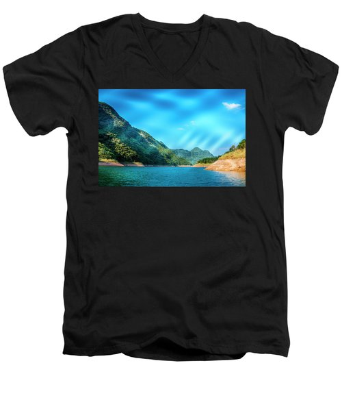 The Mountains And Reservoir Scenery With Blue Sky Men's V-Neck T-Shirt