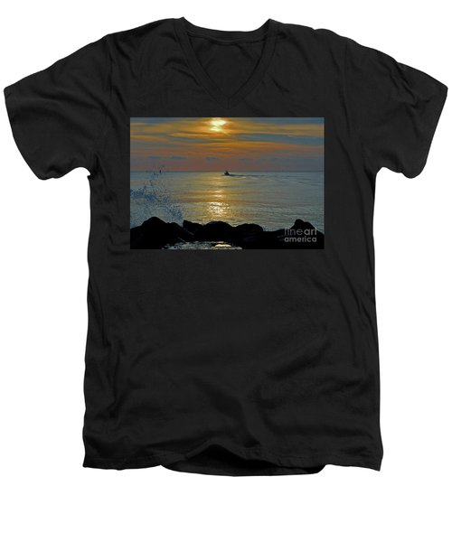Men's V-Neck T-Shirt featuring the photograph 4- Into The Day by Joseph Keane