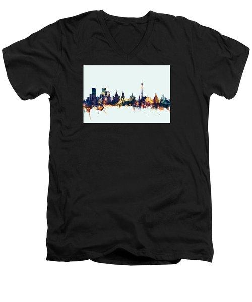 Moscow Russia Skyline Men's V-Neck T-Shirt by Michael Tompsett
