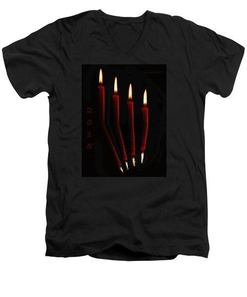 4 Reflected Candles Men's V-Neck T-Shirt