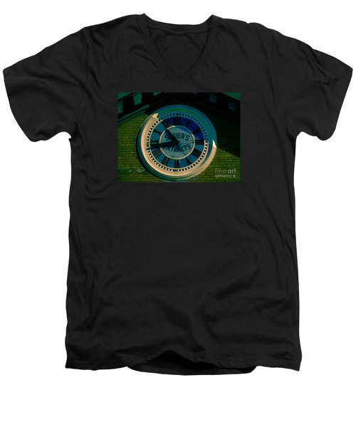 Men's V-Neck T-Shirt featuring the photograph Sauer Clock by Melissa Messick