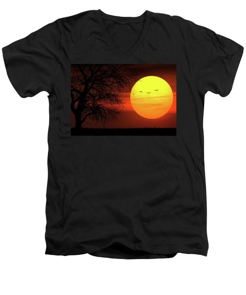 Sunset Men's V-Neck T-Shirt by Bess Hamiti