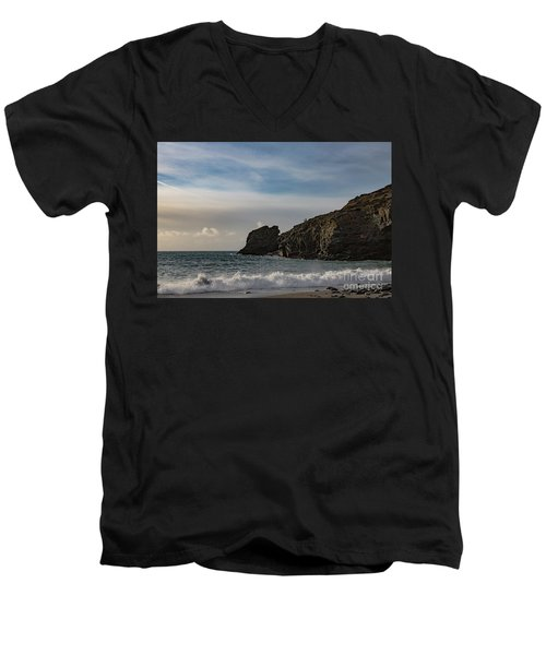 Men's V-Neck T-Shirt featuring the photograph Trevellas Cove Cornwall by Brian Roscorla