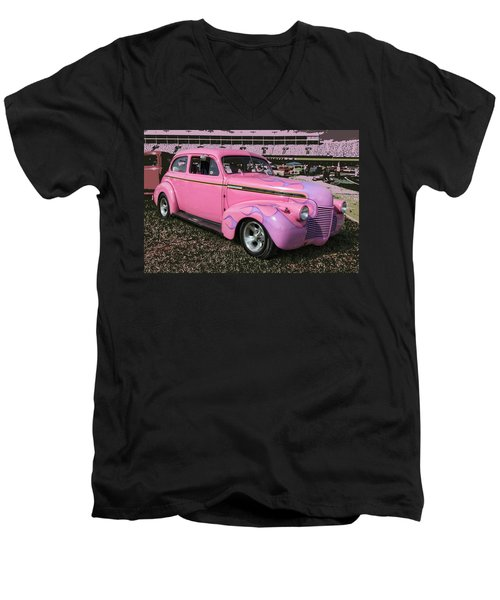 Men's V-Neck T-Shirt featuring the photograph '40 Chevy by Victor Montgomery