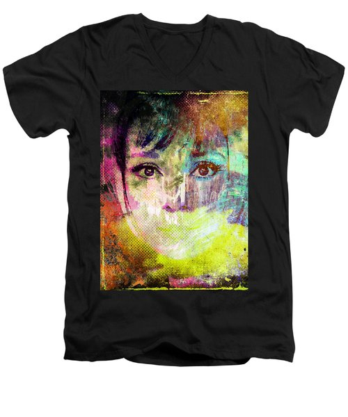 Men's V-Neck T-Shirt featuring the mixed media Audrey Hepburn by Svelby Art