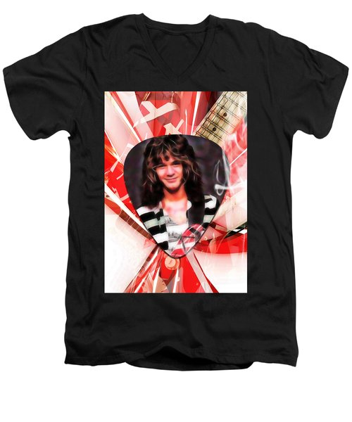 Eddie Van Halen Art Men's V-Neck T-Shirt by Marvin Blaine