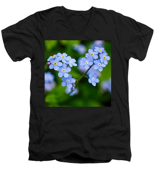 Forget Me Not Men's V-Neck T-Shirt by Jouko Lehto