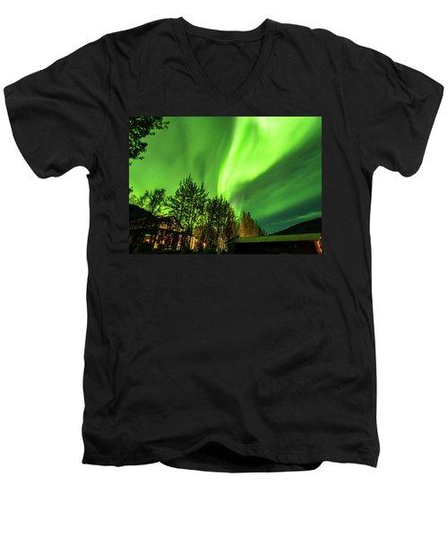 Northern Lights, Aurora Borealis At Kantishna Lodge In Denali National Park Men's V-Neck T-Shirt by Brenda Jacobs