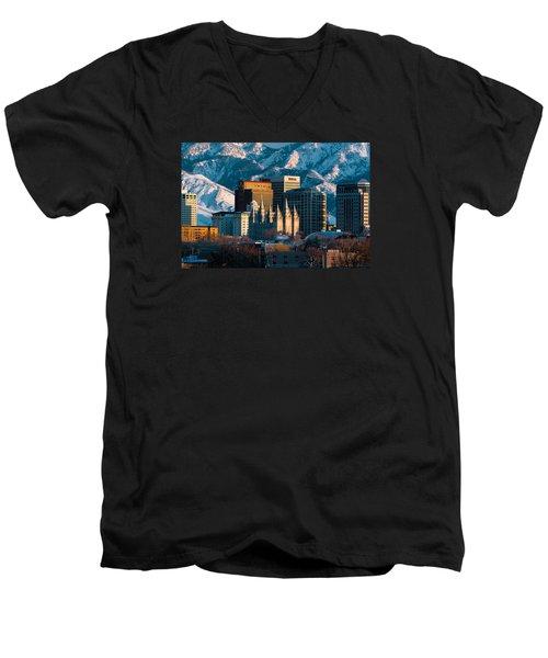 Salt Lake City Utah Usa Men's V-Neck T-Shirt by Utah Images