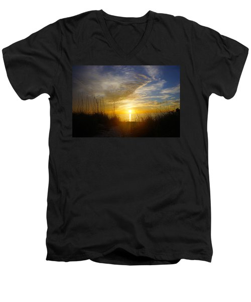 Sunset At Delnor Wiggins Pass State Park In Naples, Fl Men's V-Neck T-Shirt