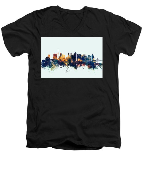 Tokyo Japan Skyline Men's V-Neck T-Shirt by Michael Tompsett