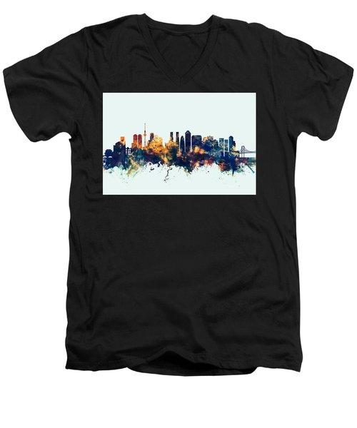 Tokyo Japan Skyline Men's V-Neck T-Shirt