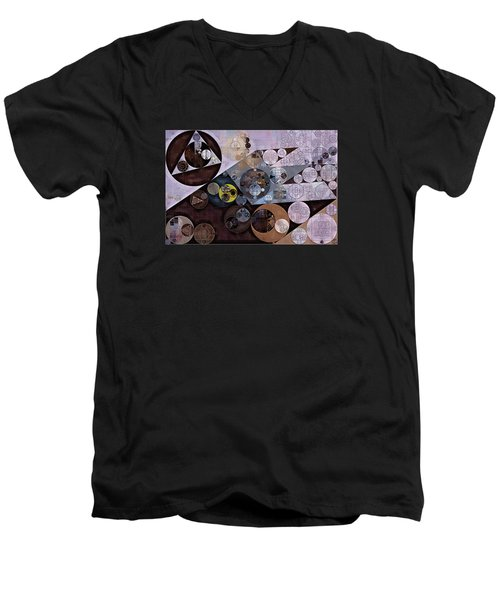 Men's V-Neck T-Shirt featuring the digital art Abstract Painting - Zinnwaldite Brown by Vitaliy Gladkiy