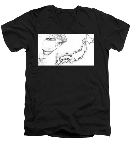 5.1.japan-map-of-country-with-bullet-train Men's V-Neck T-Shirt
