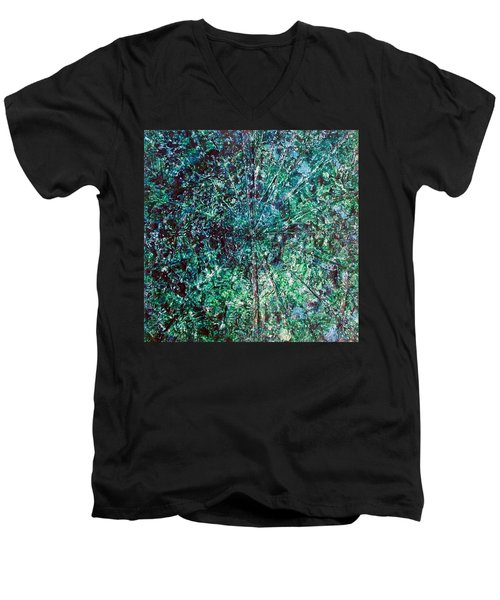 Men's V-Neck T-Shirt featuring the painting 52-offspring While I Was On The Path To Perfection 52 by Parijoy Swami Tapasyananda