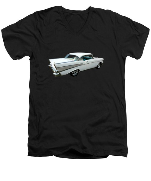 57 Chevy Bel-air Hardtop In Silver And White Men's V-Neck T-Shirt