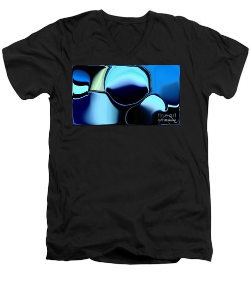 Men's V-Neck T-Shirt featuring the digital art 57 Distortions by Greg Moores