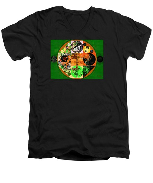 Men's V-Neck T-Shirt featuring the digital art Abstract Painting - Lincoln Green by Vitaliy Gladkiy