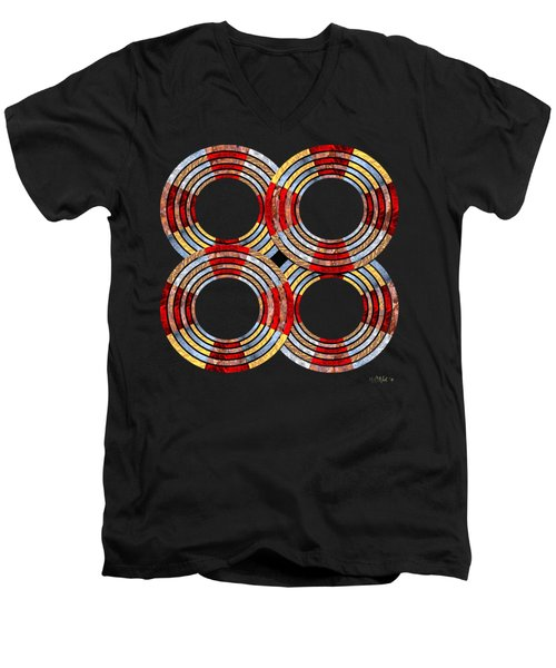 6 Concentric Rings X 4 Men's V-Neck T-Shirt