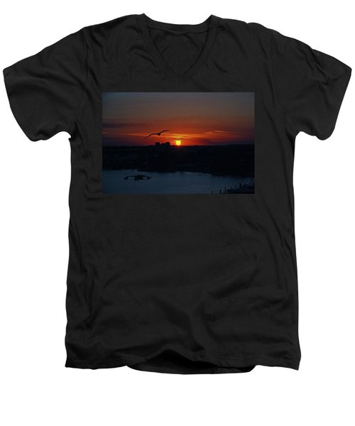 Men's V-Neck T-Shirt featuring the photograph 6- Sunset by Joseph Keane