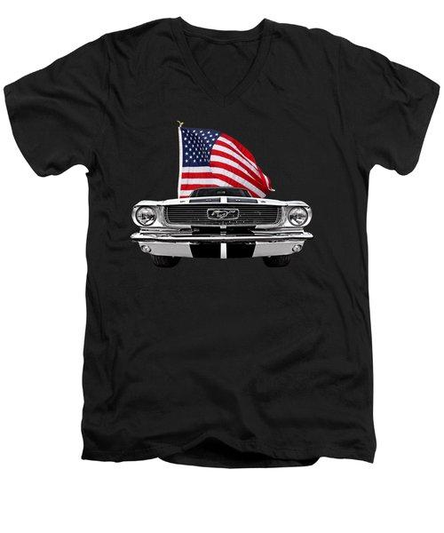 66 Mustang With U.s. Flag On Black Men's V-Neck T-Shirt by Gill Billington