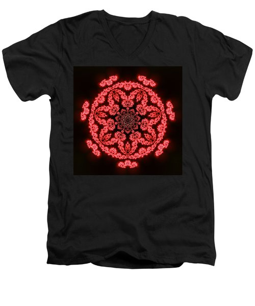 Men's V-Neck T-Shirt featuring the digital art 7 Beats Fractal by Robert Thalmeier