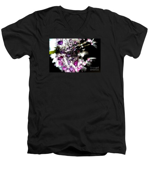 Crystal Flower Men's V-Neck T-Shirt by Sylvie Leandre