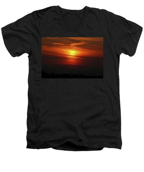 Men's V-Neck T-Shirt featuring the photograph 7- Sunset by Joseph Keane