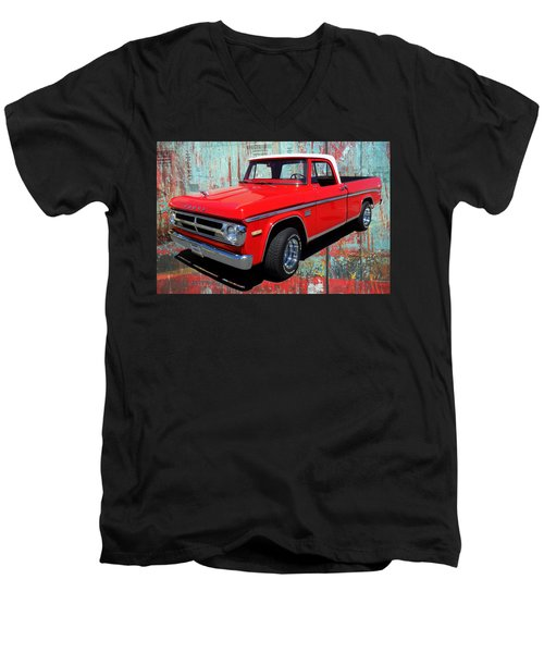 Men's V-Neck T-Shirt featuring the photograph '70 Dodge Truck by Victor Montgomery