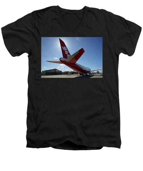 Men's V-Neck T-Shirt featuring the photograph 747 Supertanker At Mcclellan by Bill Gabbert