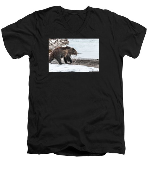 Men's V-Neck T-Shirt featuring the photograph #760 At The River In Early Spring by Yeates Photography