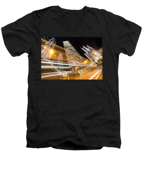Hong Kong Night Rush Men's V-Neck T-Shirt