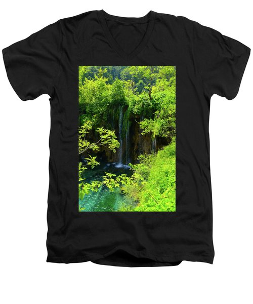 Waterfall In Plitvice National Park In Croatia Men's V-Neck T-Shirt