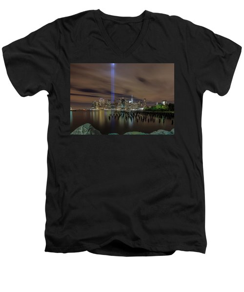 9/11 Tribute Lights 2016 Men's V-Neck T-Shirt