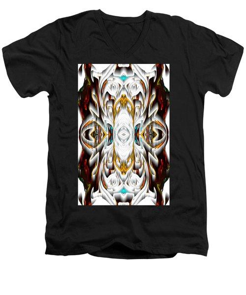 Men's V-Neck T-Shirt featuring the digital art 992.042212mirror2ornateredagold-1a-1 by Kris Haas