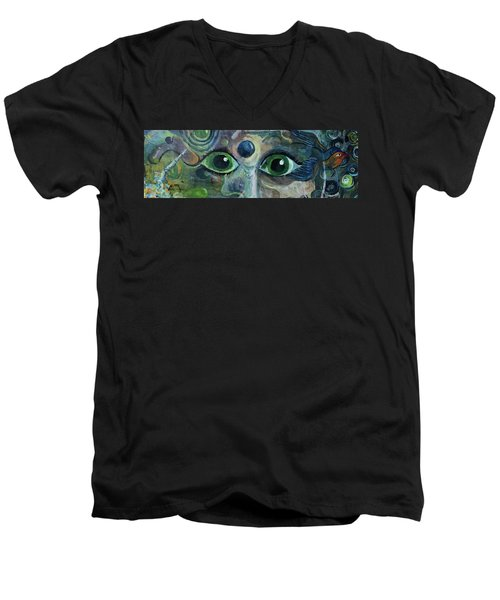 Men's V-Neck T-Shirt featuring the painting A Astronaut Dreams Of Her Infinite Cosmos by Jame Hayes