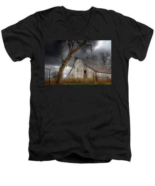 A Barn In The Storm 2 Men's V-Neck T-Shirt by Karen McKenzie McAdoo
